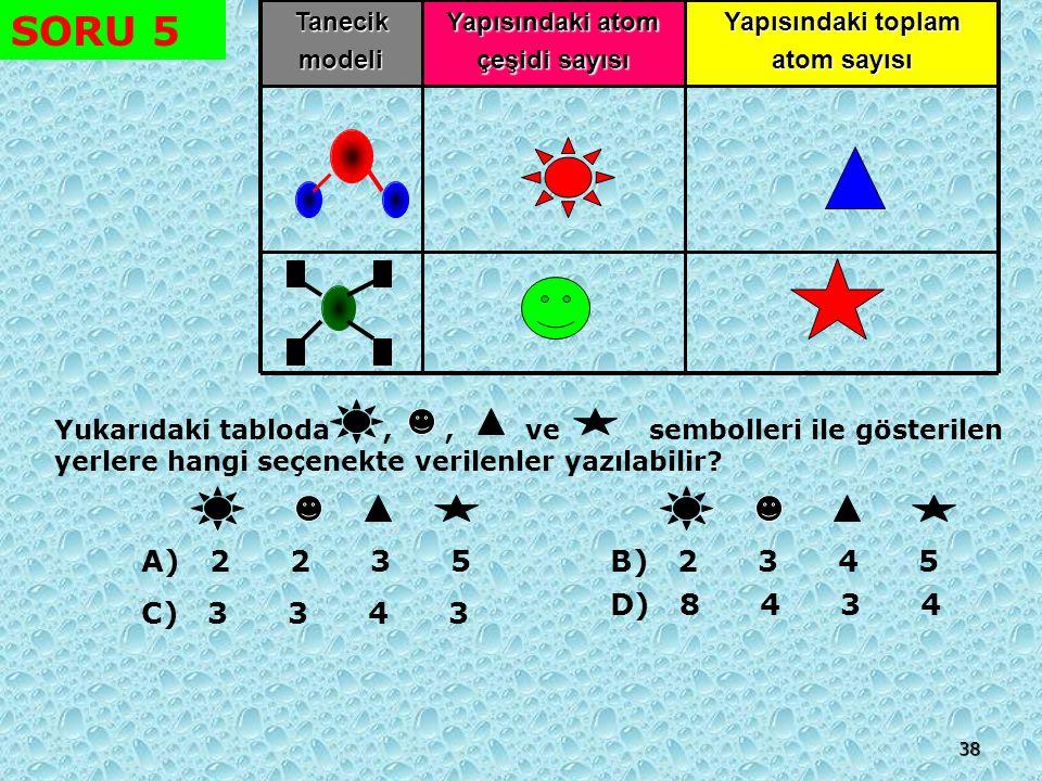 37 SORU 4 =Oksijen atomu=Karbon atomu =Hidrojen atomu Yukarıda verilen tanecik modellerine göre aşağıdakilerden hangisi bir bileşik değildir.