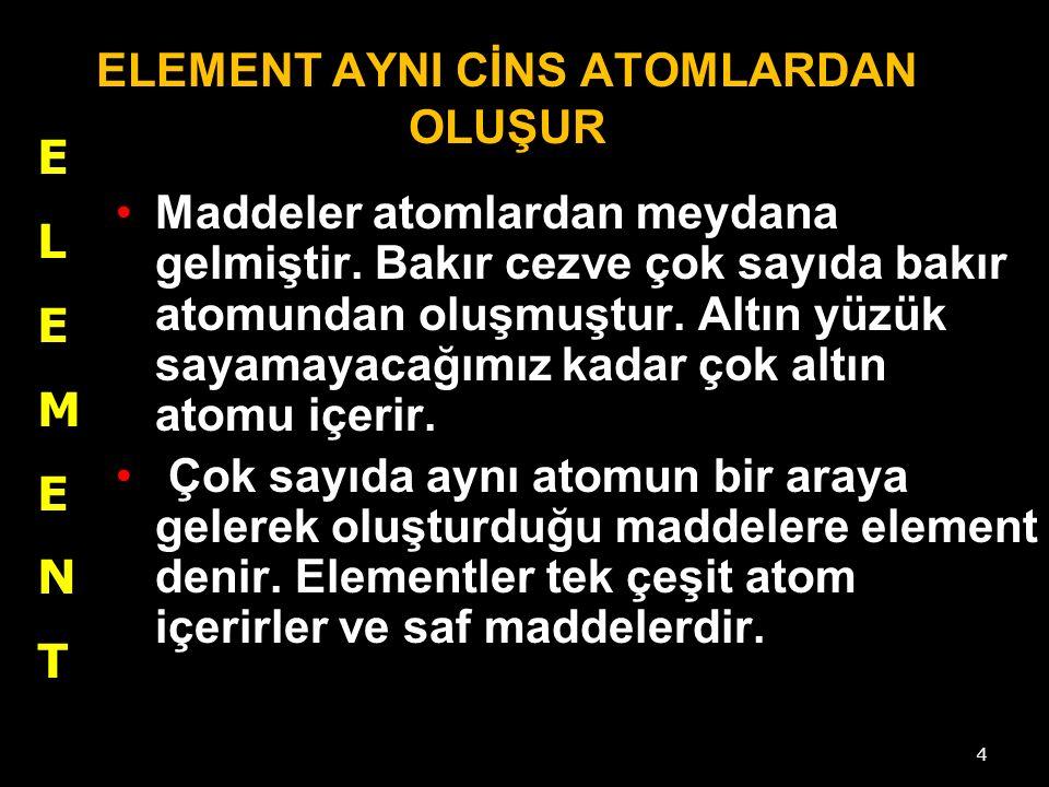 4 ELEMENT AYNI CİNS ATOMLARDAN OLUŞUR Maddeler atomlardan meydana gelmiştir.