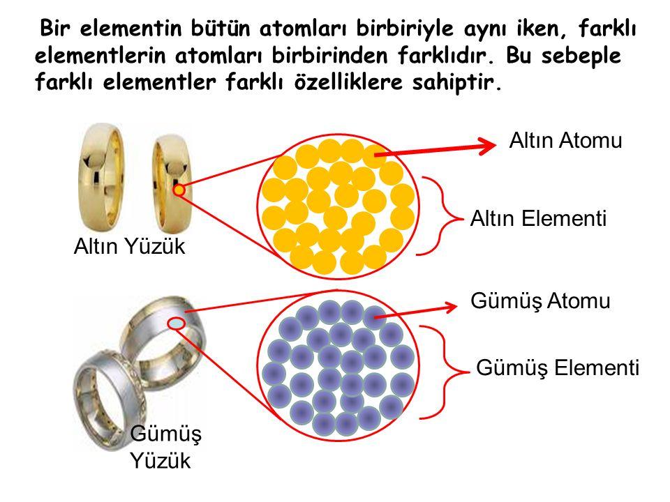 Bir elementin bütün atomları birbiriyle aynı iken, farklı elementlerin atomları birbirinden farklıdır.