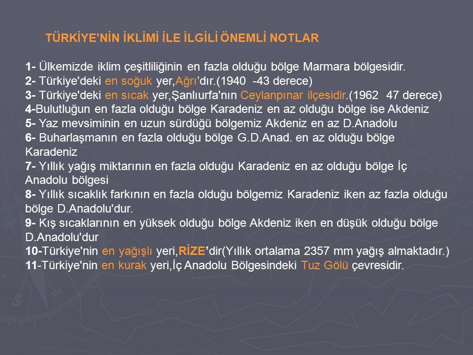TÜRKİYE NİN İKLİMİ İLE İLGİLİ ÖNEMLİ NOTLAR 1- Ülkemizde iklim çeşitliliğinin en fazla olduğu bölge Marmara bölgesidir.