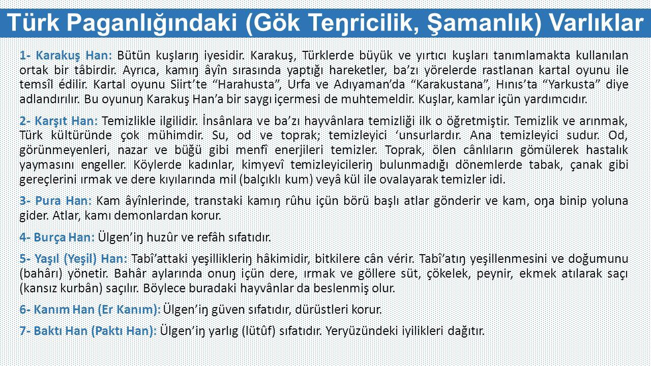 Türk Paganlığındaki (Gök Teŋricilik, Şamanlık) Varlıklar 1- Karakuş Han: Bütün kuşlarıŋ iyesidir. Karakuş, Türklerde büyük ve yırtıcı kuşları tanımlam