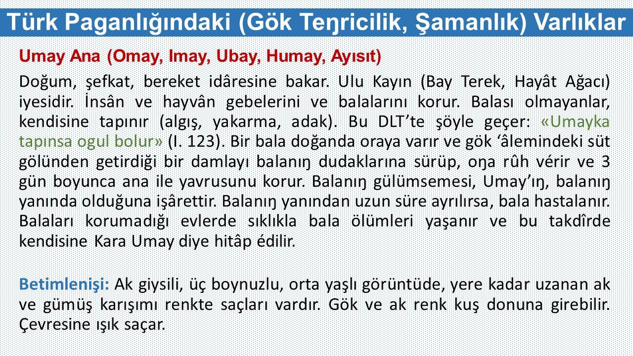 Türk Paganlığındaki (Gök Teŋricilik, Şamanlık) Varlıklar Umay Ana (Omay, Imay, Ubay, Humay, Ayısıt) Doğum, şefkat, bereket idâresine bakar.
