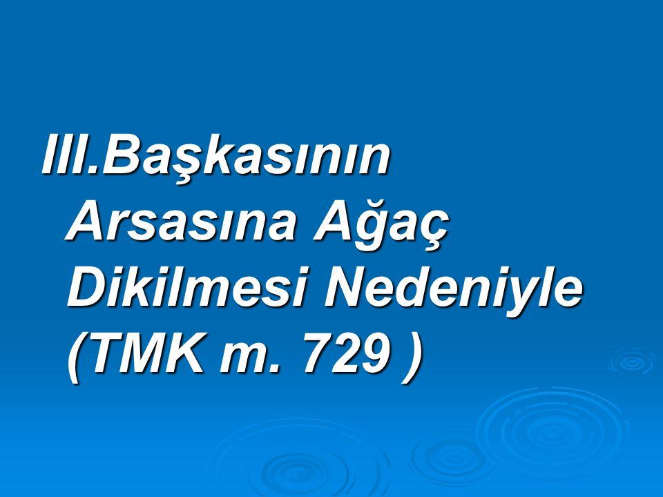 III.Başkasının Arsasına Ağaç Dikilmesi Nedeniyle (TMK m. 729 )