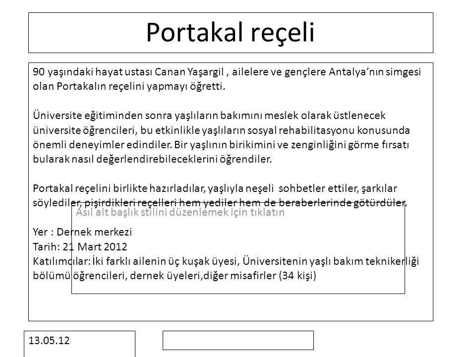 Asıl alt başlık stilini düzenlemek için tıklatın 13.05.12 Portakal reçeli 90 yaşındaki hayat ustası Canan Yaşargil, ailelere ve gençlere Antalya'nın simgesi olan Portakalın reçelini yapmayı öğretti.