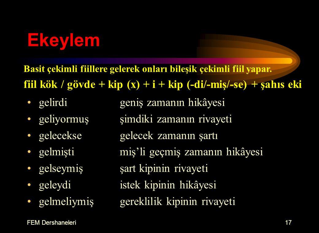 FEM Dershaneleri16 Şahıs Ekleri 1. tekil gel-di-mgel-miş-im 2.