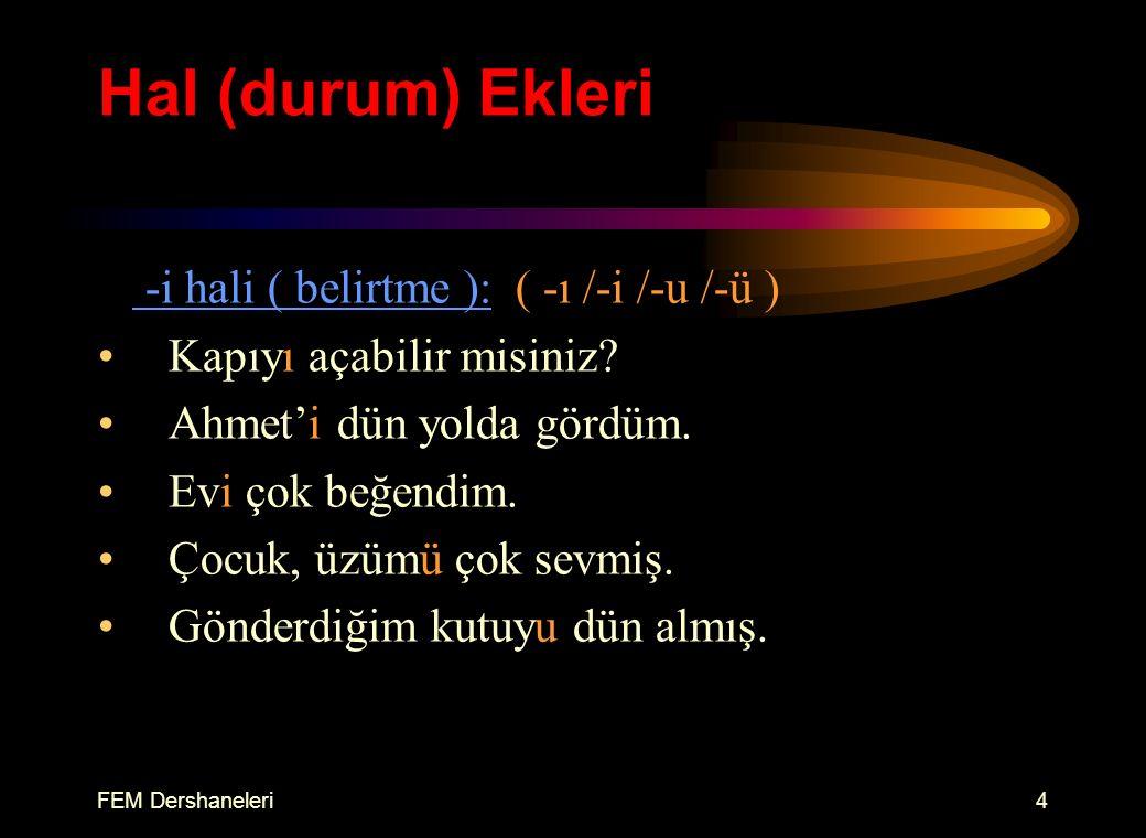 FEM Dershaneleri3 Hal (durum) Ekleri e hali ( yönelme ): ( -e /-a ) Elindekini kapıya bırak.