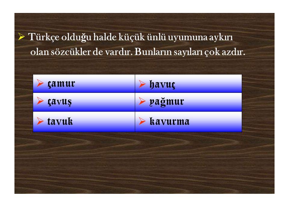  Türkçe oldu ğ u halde küçük ünlü uyumuna aykırı olan sözcükler de vardır.