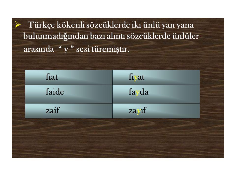  Türkçe kökenli sözcüklerde iki ünlü yan yana bulunmadı ğ ından bazı alıntı sözcüklerde ünlüler arasında y sesi türemi ş tir.