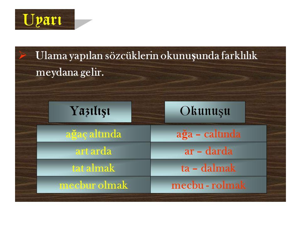 U yarı  Ulama yapılan sözcüklerin okunu ş unda farklılık meydana gelir.