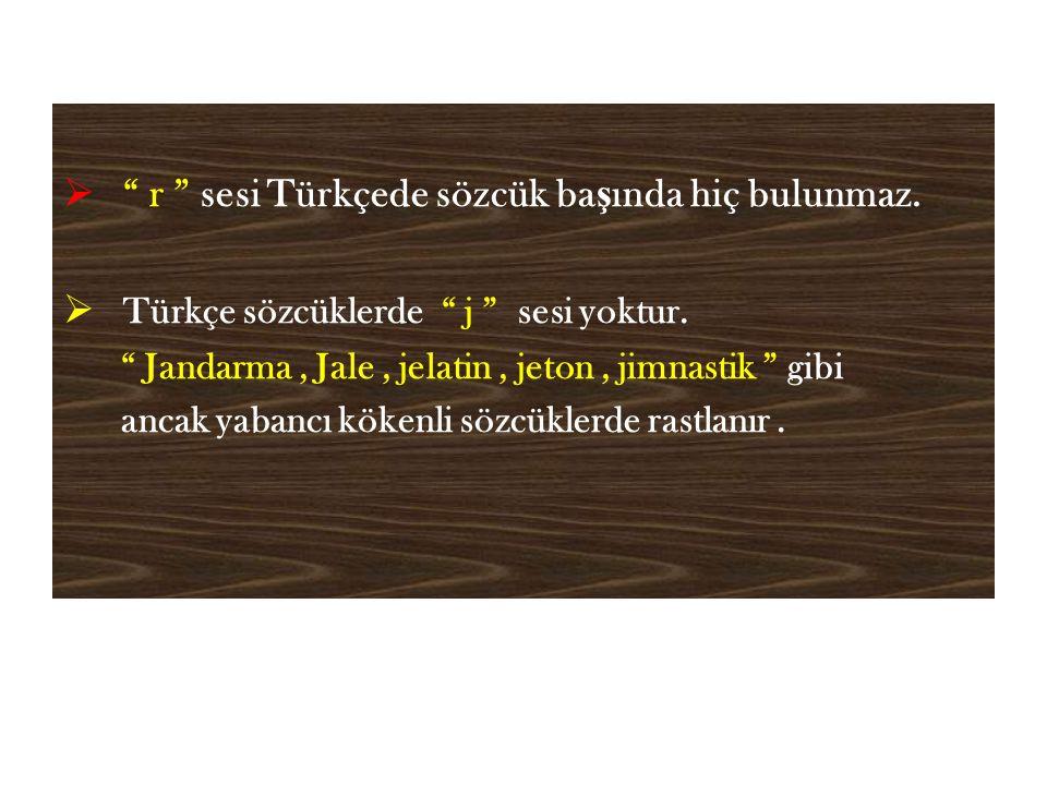  r sesi Türkçede sözcük ba ş ında hiç bulunmaz.