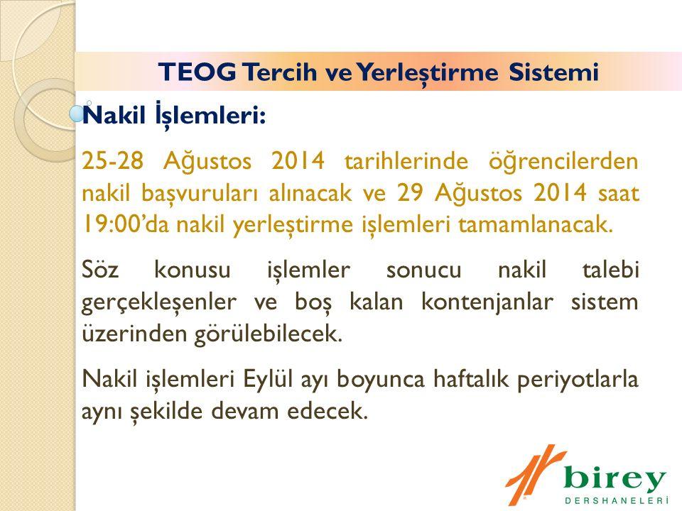 Nakil İ şlemleri: 25-28 A ğ ustos 2014 tarihlerinde ö ğ rencilerden nakil başvuruları alınacak ve 29 A ğ ustos 2014 saat 19:00'da nakil yerleştirme işlemleri tamamlanacak.