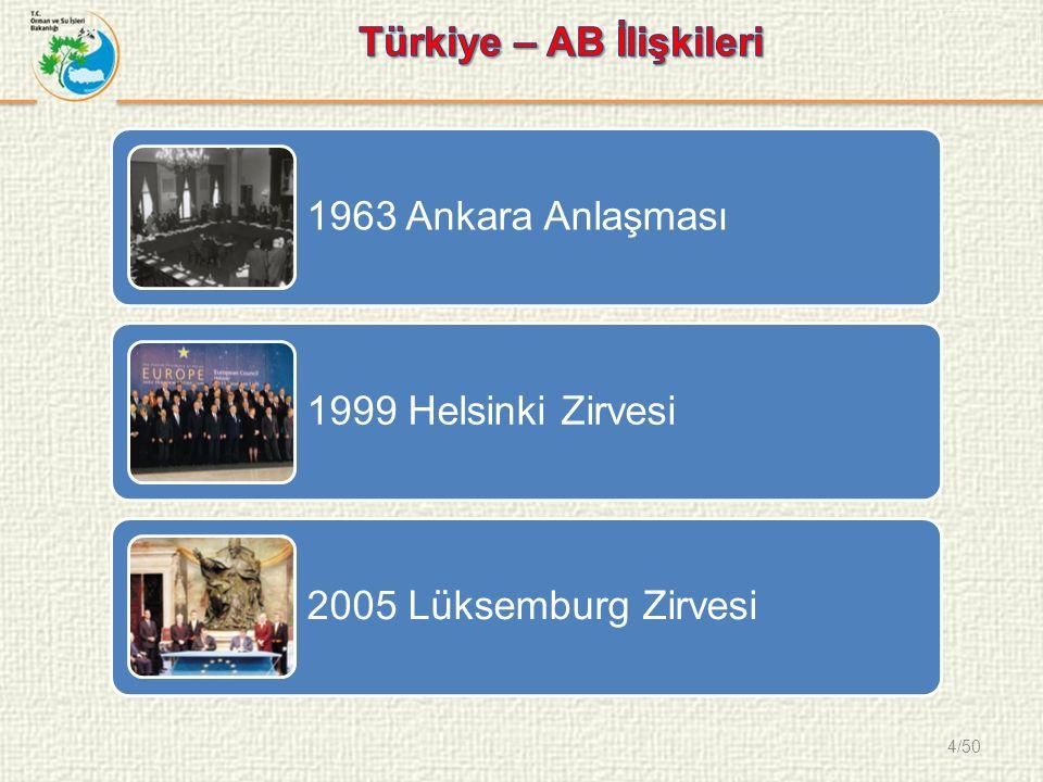 4/50 1963 Ankara Anlaşması 1999 Helsinki Zirvesi 2005 Lüksemburg Zirvesi