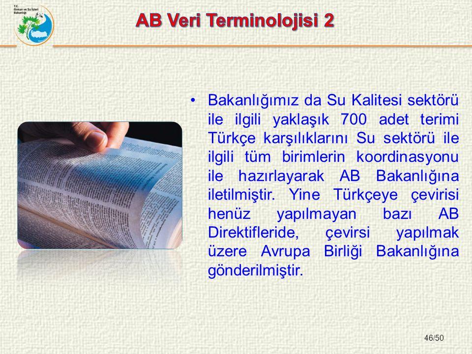 46/50 Bakanlığımız da Su Kalitesi sektörü ile ilgili yaklaşık 700 adet terimi Türkçe karşılıklarını Su sektörü ile ilgili tüm birimlerin koordinasyonu ile hazırlayarak AB Bakanlığına iletilmiştir.