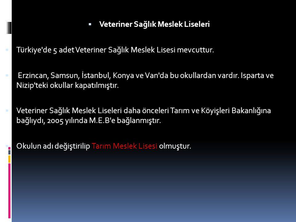  Veteriner Sağlık Meslek Liseleri  Türkiye de 5 adet Veteriner Sağlık Meslek Lisesi mevcuttur.