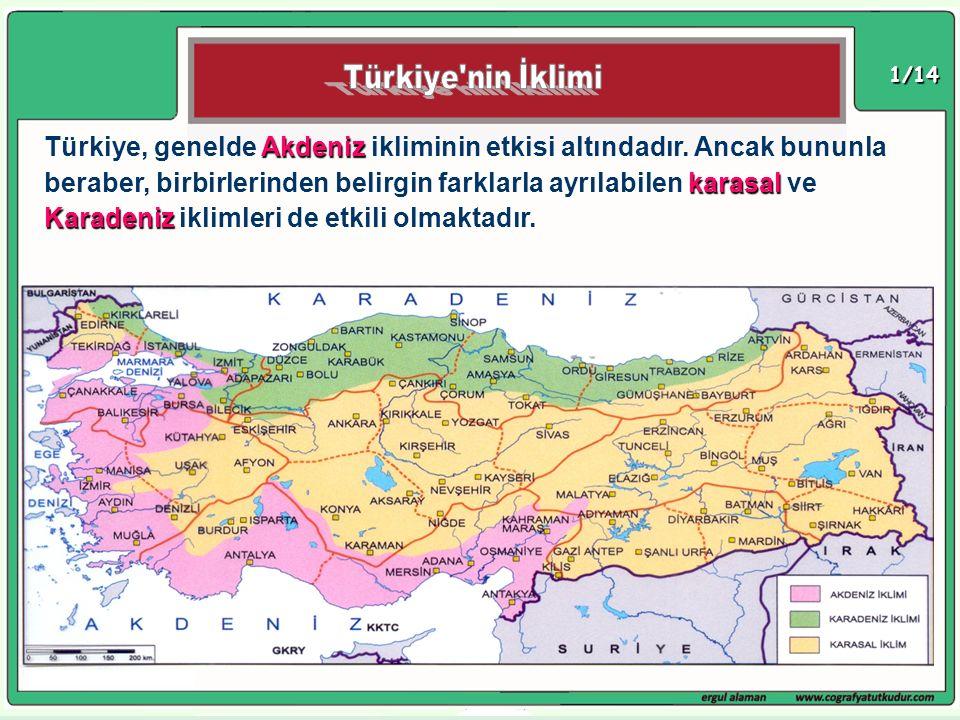 1/14 Akdeniz karasal Karadeniz Türkiye, genelde Akdeniz ikliminin etkisi altındadır. Ancak bununla beraber, birbirlerinden belirgin farklarla ayrılabi