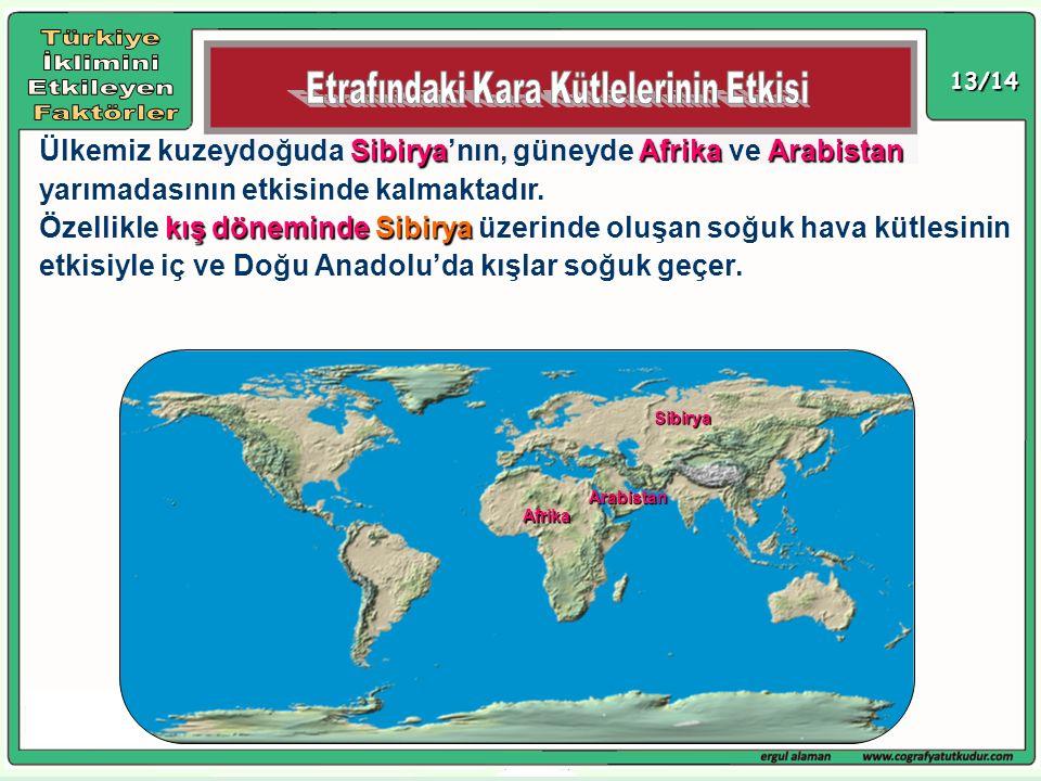 13/14 SibiryaAfrikaArabistan Ülkemiz kuzeydoğuda Sibirya'nın, güneyde Afrika ve Arabistan yarımadasının etkisinde kalmaktadır. kış dönemindeSibirya Öz