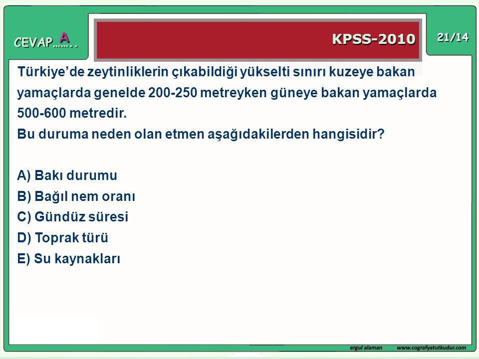 21/14 Türkiye'de zeytinliklerin çıkabildiği yükselti sınırı kuzeye bakan yamaçlarda genelde 200-250 metreyken güneye bakan yamaçlarda 500-600 metredir
