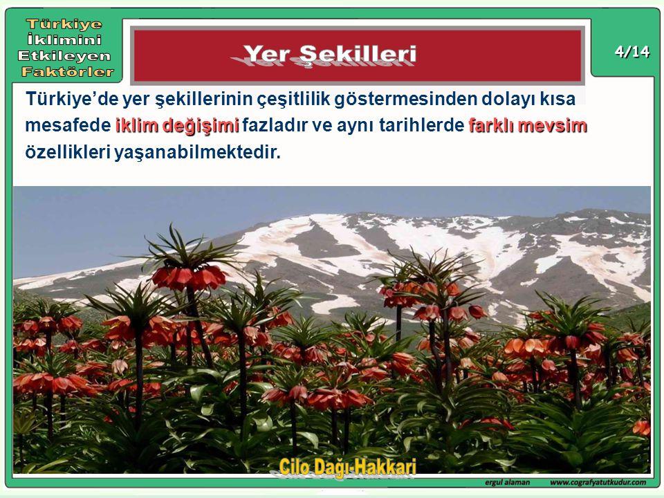 4/14 iklim değişimi farklı mevsim Türkiye'de yer şekillerinin çeşitlilik göstermesinden dolayı kısa mesafede iklim değişimi fazladır ve aynı tarihlerd