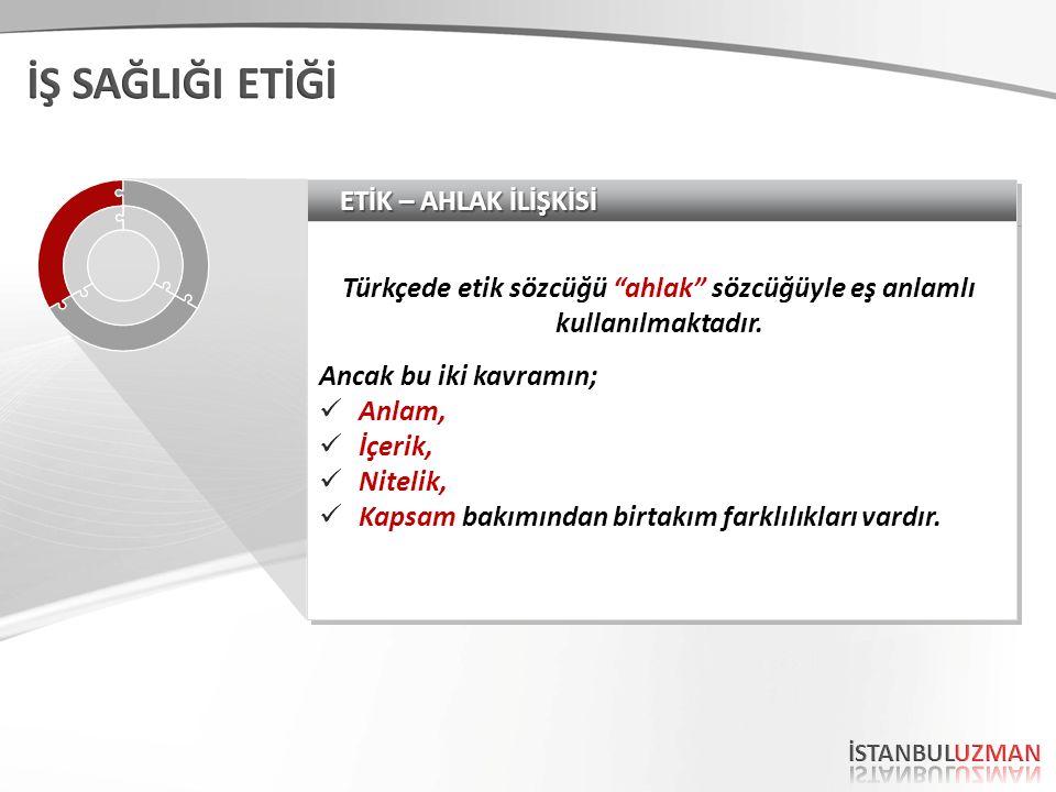 ETİK – AHLAK İLİŞKİSİ Türkçede etik sözcüğü ahlak sözcüğüyle eş anlamlı kullanılmaktadır.