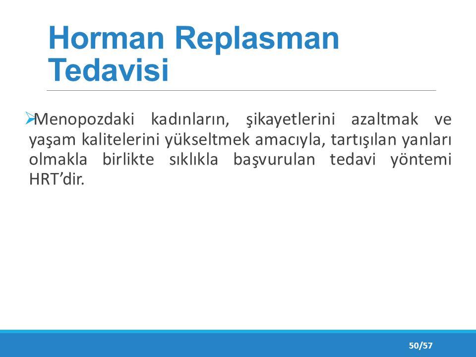 Horman Replasman Tedavisi  Menopozdaki kadınların, şikayetlerini azaltmak ve yaşam kalitelerini yükseltmek amacıyla, tartışılan yanları olmakla birlikte sıklıkla başvurulan tedavi yöntemi HRT'dir.