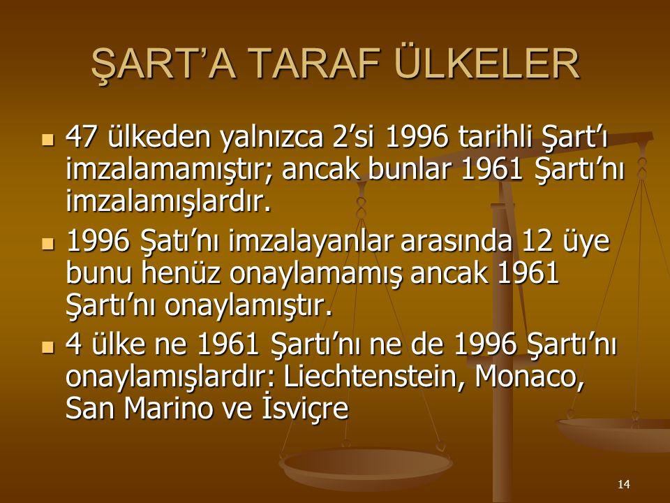 14 ŞART'A TARAF ÜLKELER 47 ülkeden yalnızca 2'si 1996 tarihli Şart'ı imzalamamıştır; ancak bunlar 1961 Şartı'nı imzalamışlardır.