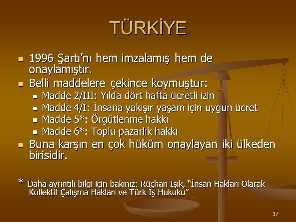 17 TÜRKİYE 1996 Şartı'nı hem imzalamış hem de onaylamıştır.