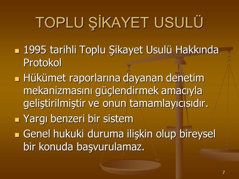 7 TOPLU ŞİKAYET USULÜ 1995 tarihli Toplu Şikayet Usulü Hakkında Protokol 1995 tarihli Toplu Şikayet Usulü Hakkında Protokol Hükümet raporlarına dayanan denetim mekanizmasını güçlendirmek amacıyla geliştirilmiştir ve onun tamamlayıcısıdır.