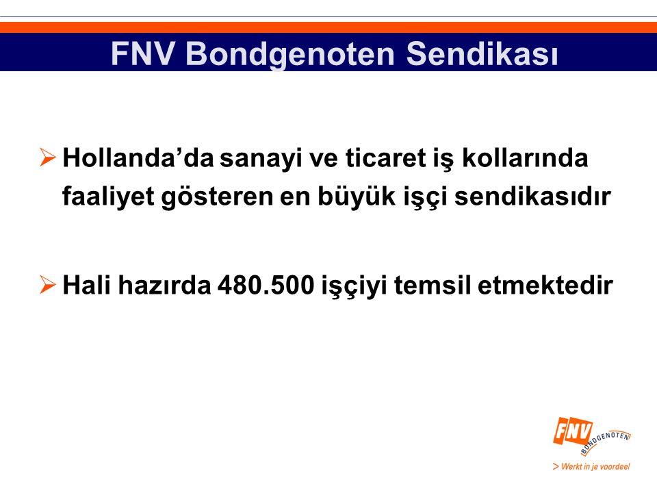 FNV Bondgenoten Sendikası  Hollanda'da sanayi ve ticaret iş kollarında faaliyet gösteren en büyük işçi sendikasıdır  Hali hazırda 480.500 işçiyi temsil etmektedir