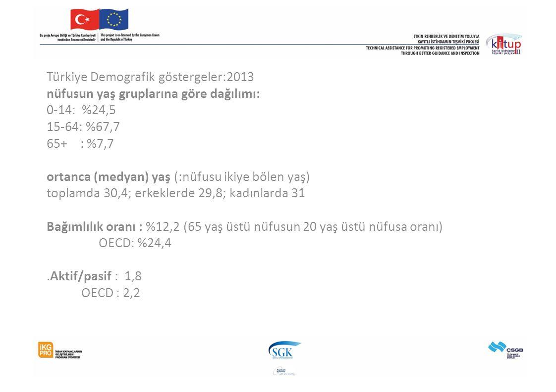 Türkiye Demografik göstergeler:2013 nüfusun yaş gruplarına göre dağılımı: 0-14: %24,5 15-64: %67,7 65+ : %7,7 ortanca (medyan) yaş (:nüfusu ikiye bölen yaş) toplamda 30,4; erkeklerde 29,8; kadınlarda 31 Bağımlılık oranı : %12,2 (65 yaş üstü nüfusun 20 yaş üstü nüfusa oranı) OECD: %24,4.Aktif/pasif : 1,8 OECD : 2,2
