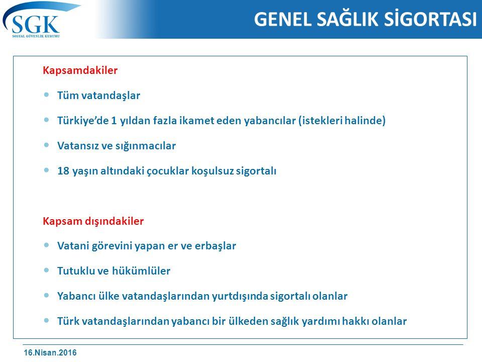 16.Nisan.2016 GENEL SAĞLIK SİGORTASI Kapsamdakiler Tüm vatandaşlar Türkiye'de 1 yıldan fazla ikamet eden yabancılar (istekleri halinde) Vatansız ve sığınmacılar 18 yaşın altındaki çocuklar koşulsuz sigortalı Kapsam dışındakiler Vatani görevini yapan er ve erbaşlar Tutuklu ve hükümlüler Yabancı ülke vatandaşlarından yurtdışında sigortalı olanlar Türk vatandaşlarından yabancı bir ülkeden sağlık yardımı hakkı olanlar