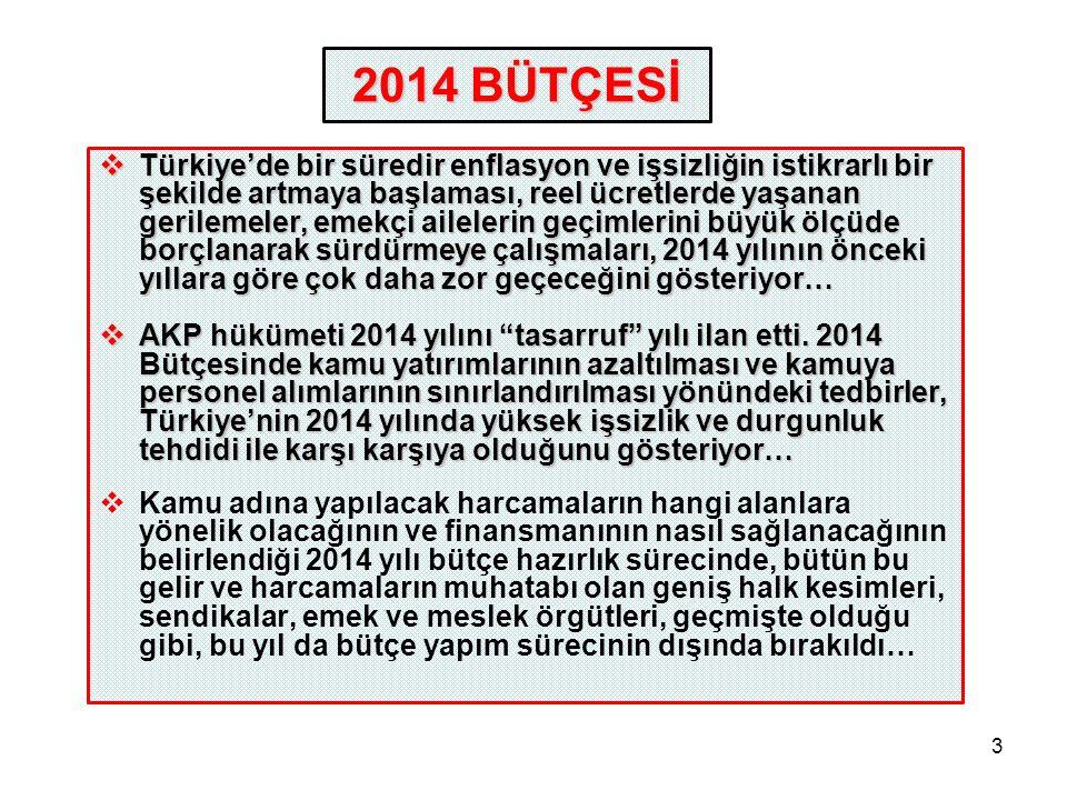 3  Türkiye'de bir süredir enflasyon ve işsizliğin istikrarlı bir şekilde artmaya başlaması, reel ücretlerde yaşanan gerilemeler, emekçi ailelerin geçimlerini büyük ölçüde borçlanarak sürdürmeye çalışmaları, 2014 yılının önceki yıllara göre çok daha zor geçeceğini gösteriyor…  AKP hükümeti 2014 yılını tasarruf yılı ilan etti.