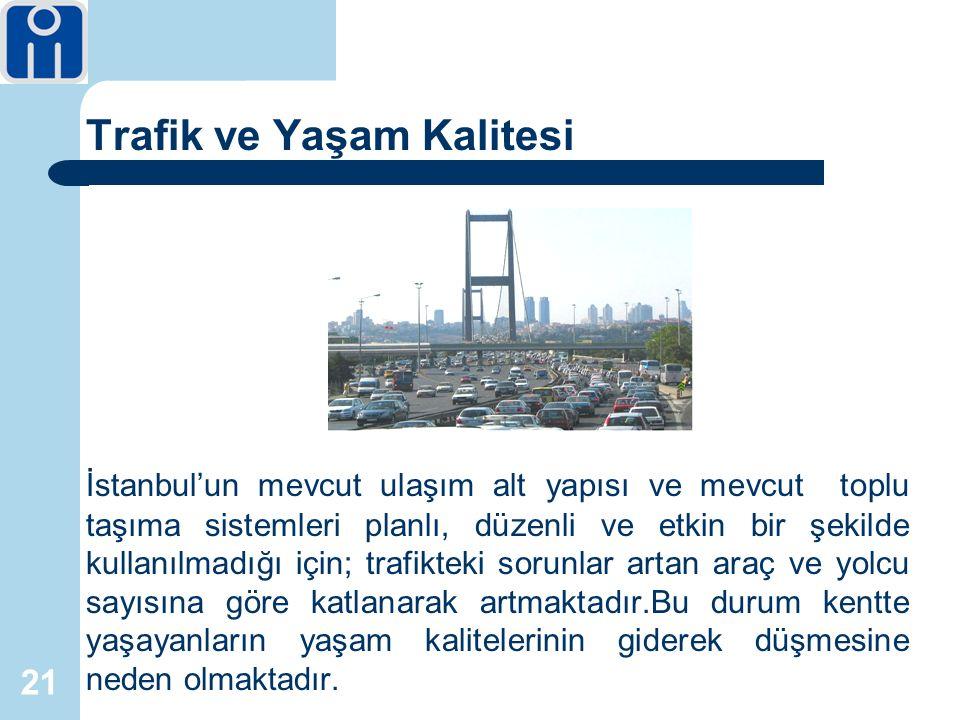 21 Trafik ve Yaşam Kalitesi İstanbul'un mevcut ulaşım alt yapısı ve mevcut toplu taşıma sistemleri planlı, düzenli ve etkin bir şekilde kullanılmadığı için; trafikteki sorunlar artan araç ve yolcu sayısına göre katlanarak artmaktadır.Bu durum kentte yaşayanların yaşam kalitelerinin giderek düşmesine neden olmaktadır.