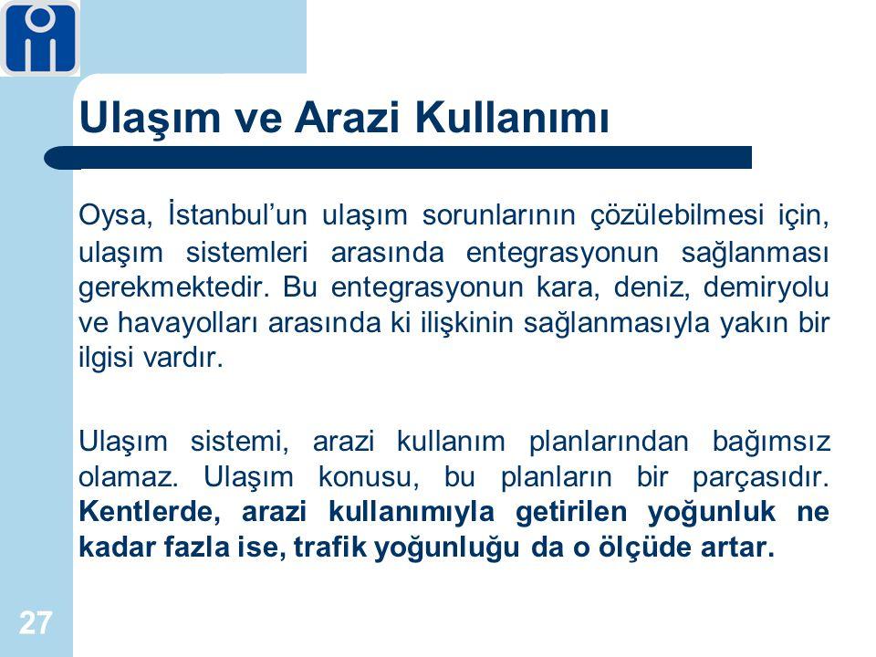 27 Ulaşım ve Arazi Kullanımı Oysa, İstanbul'un ulaşım sorunlarının çözülebilmesi için, ulaşım sistemleri arasında entegrasyonun sağlanması gerekmektedir.