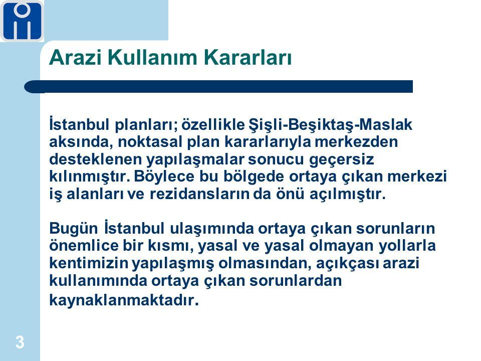 3 Arazi Kullanım Kararları İstanbul planları; özellikle Şişli-Beşiktaş-Maslak aksında, noktasal plan kararlarıyla merkezden desteklenen yapılaşmalar sonucu geçersiz kılınmıştır.
