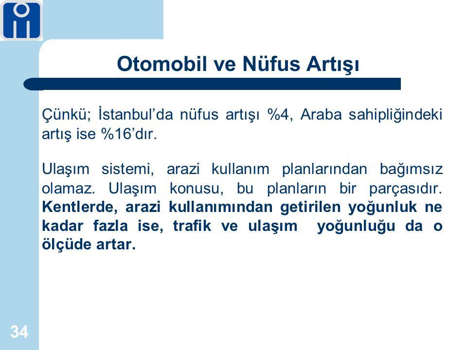 34 Otomobil ve Nüfus Artışı Çünkü; İstanbul'da nüfus artışı %4, Araba sahipliğindeki artış ise %16'dır.