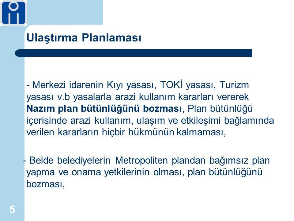 5 Ulaştırma Planlaması - Merkezi idarenin Kıyı yasası, TOKİ yasası, Turizm yasası v.b yasalarla arazi kullanım kararları vererek Nazım plan bütünlüğünü bozması, Plan bütünlüğü içerisinde arazi kullanım, ulaşım ve etkileşimi bağlamında verilen kararların hiçbir hükmünün kalmaması, - Belde belediyelerin Metropoliten plandan bağımsız plan yapma ve onama yetkilerinin olması, plan bütünlüğünü bozması,