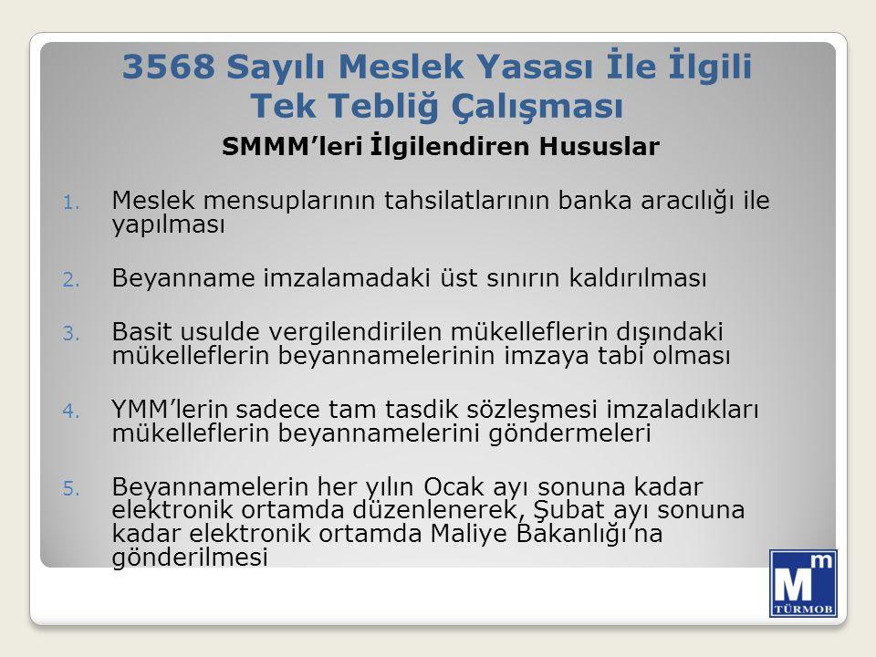 SMMM'leri İlgilendiren Hususlar 1.