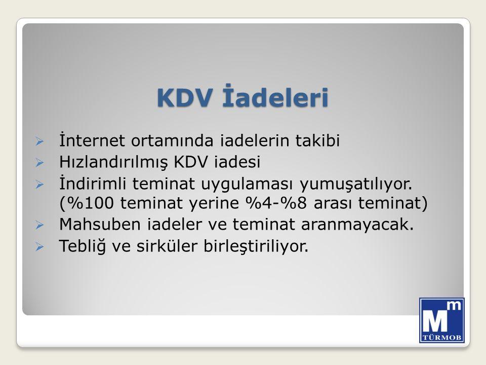 KDV İadeleri  İnternet ortamında iadelerin takibi  Hızlandırılmış KDV iadesi  İndirimli teminat uygulaması yumuşatılıyor.