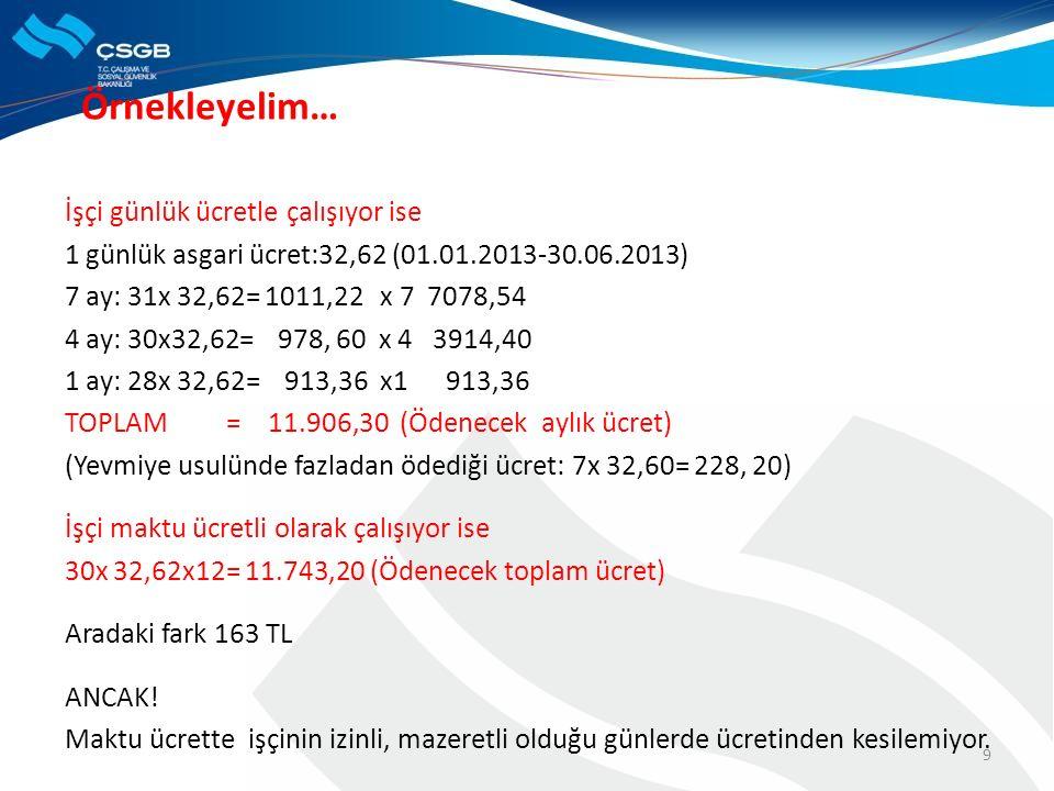Örnekleyelim… İşçi günlük ücretle çalışıyor ise 1 günlük asgari ücret:32,62 (01.01.2013-30.06.2013) 7 ay: 31x 32,62= 1011,22 x 7 7078,54 4 ay: 30x32,62= 978, 60 x 4 3914,40 1 ay: 28x 32,62= 913,36 x1 913,36 TOPLAM = 11.906,30 (Ödenecek aylık ücret) (Yevmiye usulünde fazladan ödediği ücret: 7x 32,60= 228, 20) İşçi maktu ücretli olarak çalışıyor ise 30x 32,62x12= 11.743,20 (Ödenecek toplam ücret) Aradaki fark 163 TL ANCAK.
