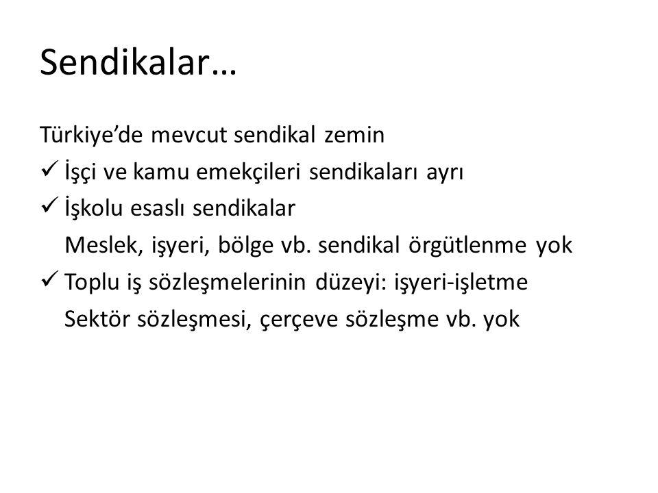 Sendikalar… Türkiye'de mevcut sendikal zemin İşçi ve kamu emekçileri sendikaları ayrı İşkolu esaslı sendikalar Meslek, işyeri, bölge vb. sendikal örgü