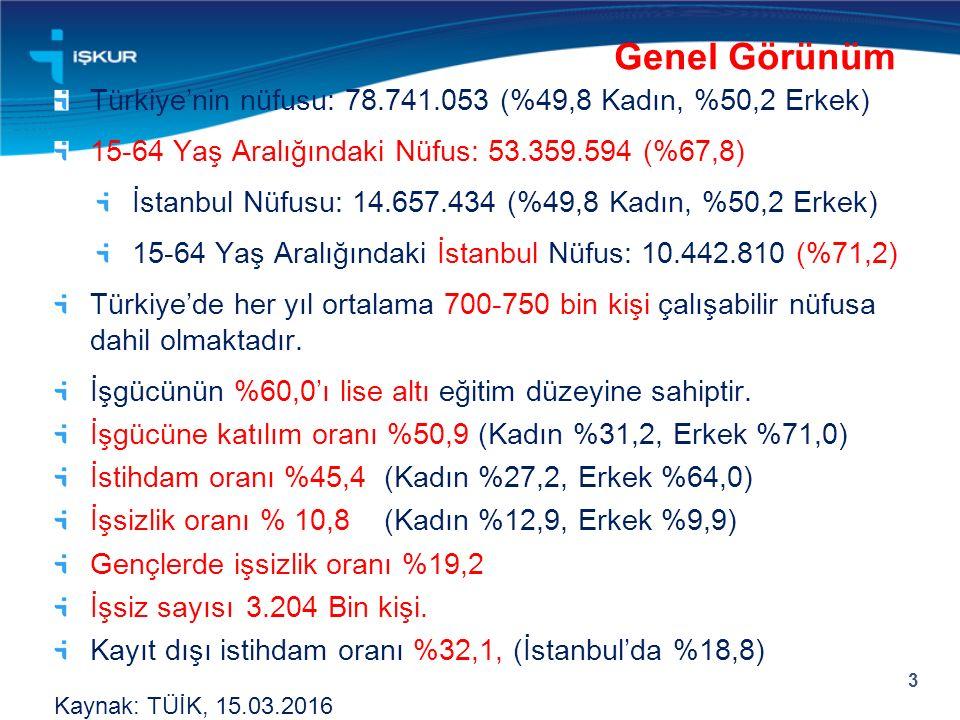 Türkiye'nin nüfusu: 78.741.053 (%49,8 Kadın, %50,2 Erkek) 15-64 Yaş Aralığındaki Nüfus: 53.359.594 (%67,8) İstanbul Nüfusu: 14.657.434 (%49,8 Kadın, %