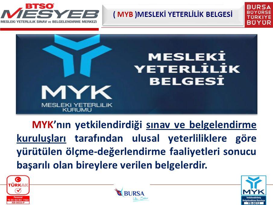 MYK'nın yetkilendirdiği sınav ve belgelendirme kuruluşları tarafından ulusal yeterliliklere göre yürütülen ölçme-değerlendirme faaliyetleri sonucu baş