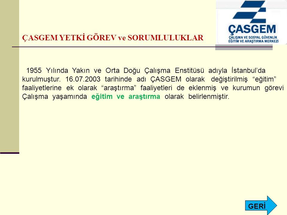 ÇASGEM YETKİ GÖREV ve SORUMLULUKLAR 1955 Yılında Yakın ve Orta Doğu Çalışma Enstitüsü adıyla İstanbul'da kurulmuştur. 16.07.2003 tarihinde adı ÇASGEM