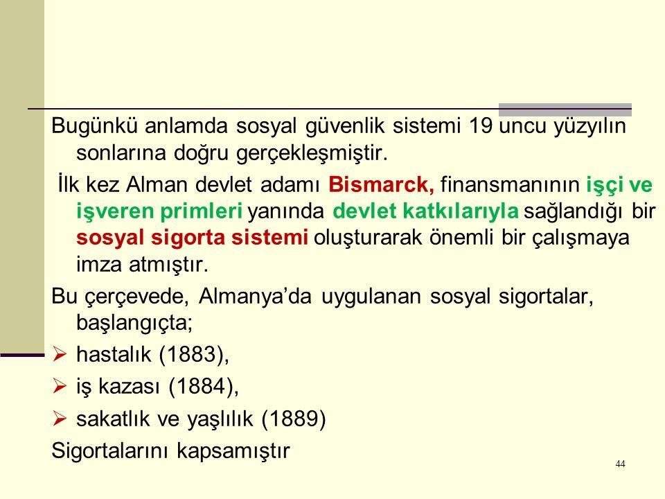 Bugünkü anlamda sosyal güvenlik sistemi 19 uncu yüzyılın sonlarına doğru gerçekleşmiştir. İlk kez Alman devlet adamı Bismarck, finansmanının işçi ve i