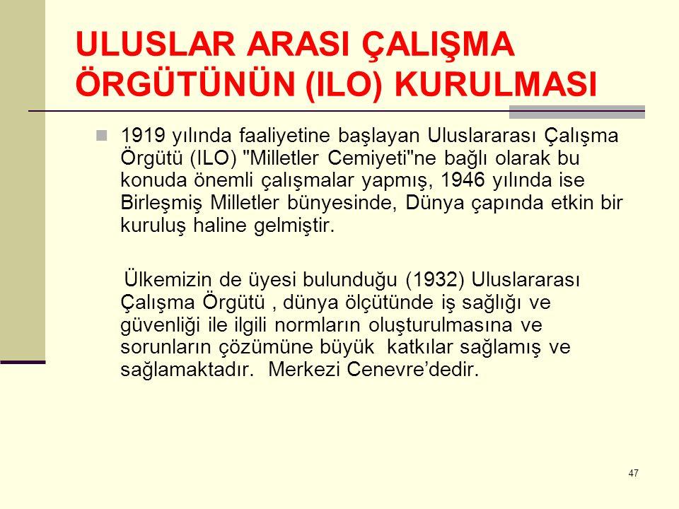 ULUSLAR ARASI ÇALIŞMA ÖRGÜTÜNÜN (ILO) KURULMASI 1919 yılında faaliyetine başlayan Uluslararası Çalışma Örgütü (ILO)
