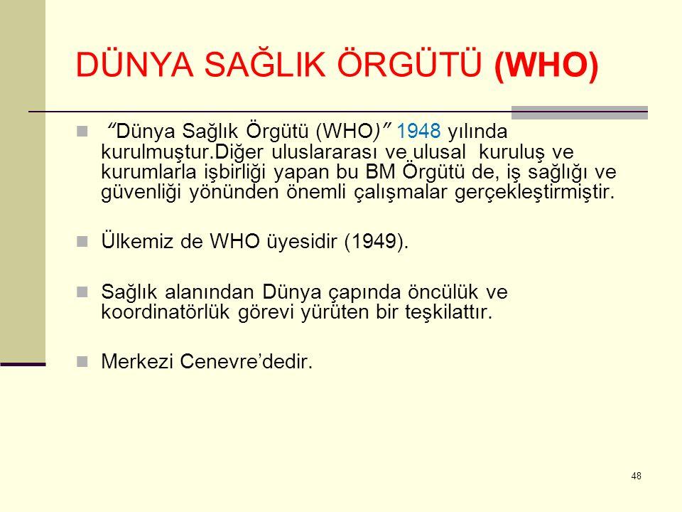 DÜNYA SAĞLIK ÖRGÜTÜ (WHO) Dünya Sağlık Örgütü (WHO) 1948 yılında kurulmuştur.Diğer uluslararası ve ulusal kuruluş ve kurumlarla işbirliği yapan bu BM Örgütü de, iş sağlığı ve güvenliği yönünden önemli çalışmalar gerçekleştirmiştir.