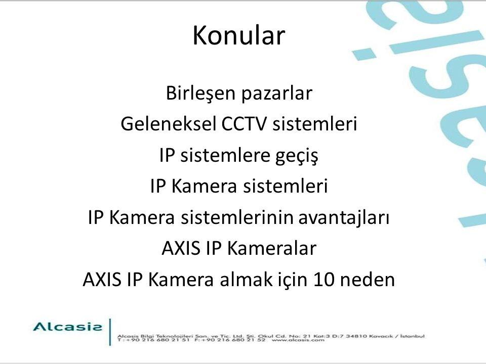 Konular Birleşen pazarlar Geleneksel CCTV sistemleri IP sistemlere geçiş IP Kamera sistemleri IP Kamera sistemlerinin avantajları AXIS IP Kameralar AXIS IP Kamera almak için 10 neden
