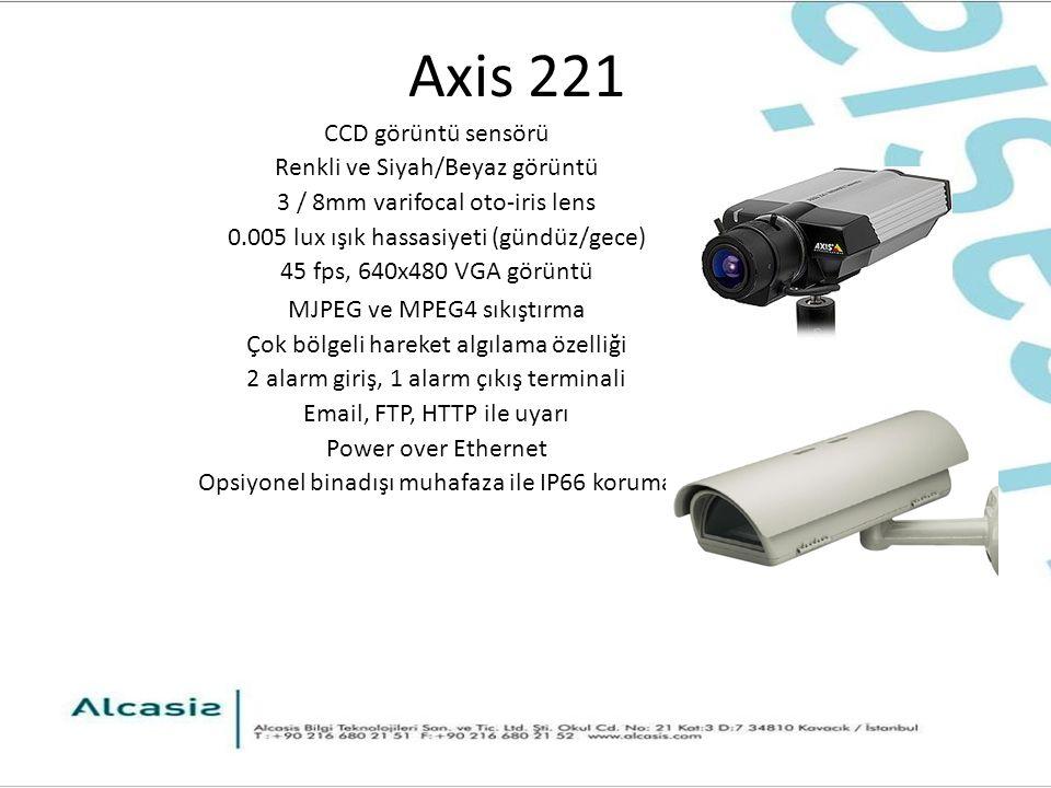 Axis 221 CCD görüntü sensörü Renkli ve Siyah/Beyaz görüntü 3 / 8mm varifocal oto-iris lens 0.005 lux ışık hassasiyeti (gündüz/gece) 45 fps, 640x480 VGA görüntü MJPEG ve MPEG4 sıkıştırma Çok bölgeli hareket algılama özelliği 2 alarm giriş, 1 alarm çıkış terminali Email, FTP, HTTP ile uyarı Power over Ethernet Opsiyonel binadışı muhafaza ile IP66 koruma