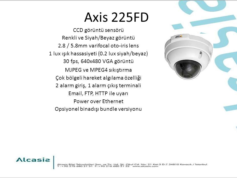 Axis 225FD CCD görüntü sensörü Renkli ve Siyah/Beyaz görüntü 2.8 / 5.8mm varifocal oto-iris lens 1 lux ışık hassasiyeti (0.2 lux siyah/beyaz) 30 fps, 640x480 VGA görüntü MJPEG ve MPEG4 sıkıştırma Çok bölgeli hareket algılama özelliği 2 alarm giriş, 1 alarm çıkış terminali Email, FTP, HTTP ile uyarı Power over Ethernet Opsiyonel binadışı bundle versiyonu