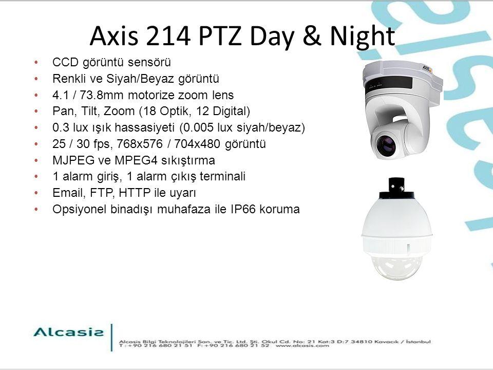 Axis 214 PTZ Day & Night CCD görüntü sensörü Renkli ve Siyah/Beyaz görüntü 4.1 / 73.8mm motorize zoom lens Pan, Tilt, Zoom (18 Optik, 12 Digital) 0.3 lux ışık hassasiyeti (0.005 lux siyah/beyaz) 25 / 30 fps, 768x576 / 704x480 görüntü MJPEG ve MPEG4 sıkıştırma 1 alarm giriş, 1 alarm çıkış terminali Email, FTP, HTTP ile uyarı Opsiyonel binadışı muhafaza ile IP66 koruma